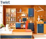 Модульный набор мебели для детской комнаты Твист (Twist) в цвете груша-гранат (вариант 1)