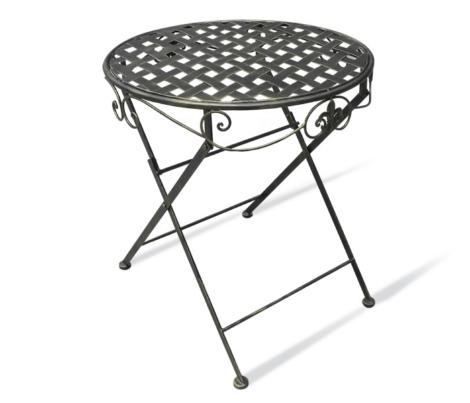 Круглый складной металлический кофейный столик на дачу